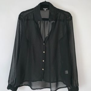 Charlotte Russe Button Down Black Sheer Blouse
